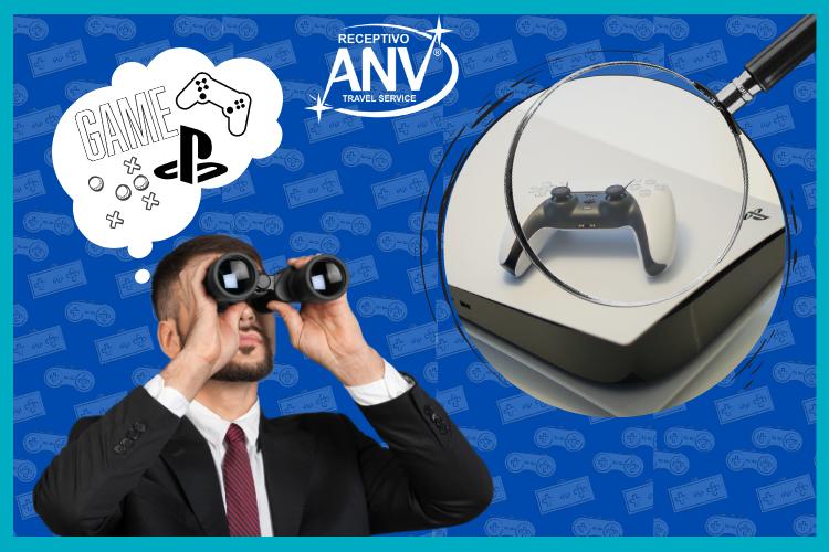 Homem com binóculo, olhando o novo PS5. PS5 Paraguai  Novidades do  console e onde  comprar