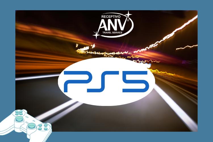 """Imagem escrita """"PS5"""", com controle no canto da foto."""